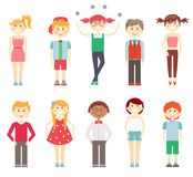 Small children in colorful clothes. Set if vector icons of small children in colorful clothes with multiracial girls and boys laughing and smiling in smart and Stock Photography