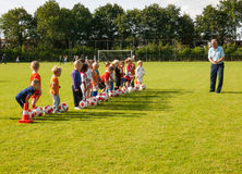 Small children at football training Royalty Free Stock Photography