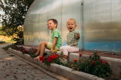 Small children, a girl and a boy, sit on a path near a club, barefoot, behind them a covered pool, greenhouse, summer, spring in royalty free stock photos