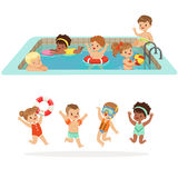 Small Children Having Fun In Water Of The Pool With Floats And Inflatable Toys In Colorful Swimsuit Set Of Happy Cute Royalty Free Stock Photos