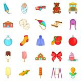 Small children icons set, cartoon style Stock Images