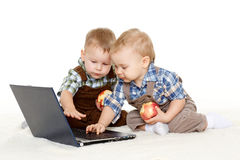 Small children with notebook. Royalty Free Stock Image
