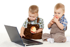 Small children with notebook. Stock Photos