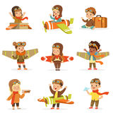 Small Children In Pilot Costumes Dreaming Of Piloting The Plane, Playing With Toys Adorable Cartoon Characters. Kids Dream Future Profession Set Of Cute Vector Stock Photos