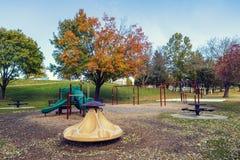 Children Playground in Fall stock photos