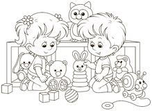 Small children playing in a nursery vector illustration