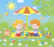 Small children playing in a sandbox on a sunny day vector illustration
