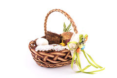 Small children`s Easter basket meal for sanctify, Ukraine Royalty Free Stock Images