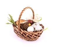 Small children`s Easter basket meal for sanctify, Ukraine Stock Images