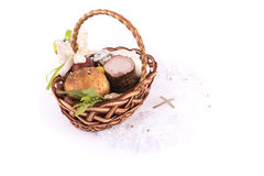 Small children`s Easter basket meal for sanctify, Ukraine Royalty Free Stock Photo