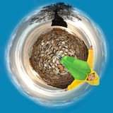 Small children's fantasy planet Royalty Free Stock Image