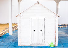 A small children`s playhouse in the city park Royalty Free Stock Photography