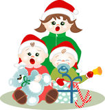 Small children singing Christmas carols. Small children (two children and a baby), singing Christmas carols, very sheltered and with red caps stock illustration