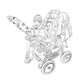 small children in the stroller nursery vector illustration