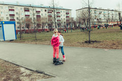 Small children. Children walk in the summer, the weather is good Stock Photo