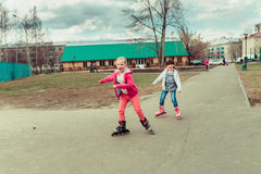 Small children. Children walk in the summer, the weather is good Stock Images