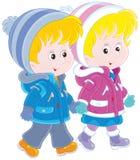 Small children walking Stock Photo