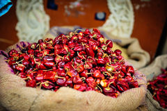 Small chillies. Bag of small chillies at a food market, India Royalty Free Stock Photography