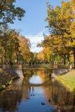 Small Chinese bridge in the Alexander Park of Tsarskoye Selo, ne Stock Photos