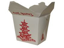 Small Chinese To Go Box. Small white chinese to go box Royalty Free Stock Photos