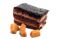 Small chocolate cake and butterscotch Stock Photography