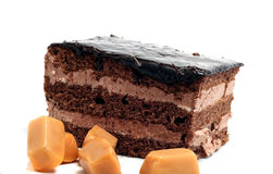 Small chocolate cake and butterscotch Stock Photos