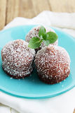 Small chocolate cake with mint Stock Image