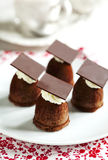 Small chocolate cake. Royalty Free Stock Images