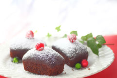Small chocolate cakes for Christmas Royalty Free Stock Photo