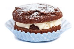 Small chocolate cup sponge cake Stock Image