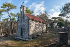 Free Small Christian Chapel Between Merag And Cres On A Sunny Day In Spring Stock Photos - 126044813