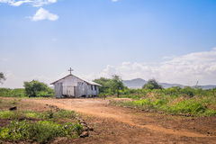 Small christian church in rural african area Stock Images