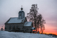 Small Christian church at sunset Royalty Free Stock Image