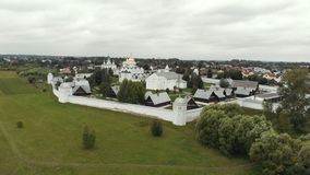 Small christian village - Suzdal, Russia. Aerial view stock video