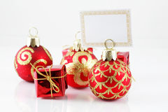 Small Christmas ball with label Royalty Free Stock Image