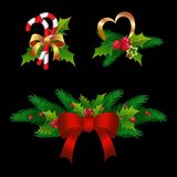 Small Christmas compositions.  on black background. Set. Merry Christmas design.  Christmas tree wreath garland decoration of holly,  fir branch , for New Year Royalty Free Stock Image