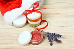 Small Christmas gifts with homemade herbal  medicine Stock Photo