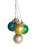 Small christmas ornaments. Four colorful christmas balls isolated on white Royalty Free Stock Photography