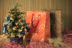 Small  Christmas tree on background for postcards and greetings Stock Photo