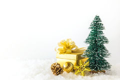 Small christmas tree and christmas ornaments Royalty Free Stock Image