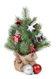 Small christmas tree with decor Royalty Free Stock Photo