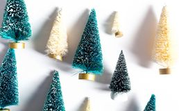 Small Christmas trees from above Stock Photo