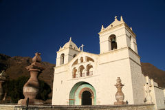 Small Church in Colca Canyon. Facade of beautiful small church in Colca Canyon near Arequipa Peru stock photos