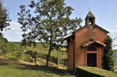 Small church. Small chapel in the middle of a vineyard, Asti, Italy Royalty Free Stock Images