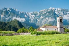 Small church on the Alpe Adria cycle path, Italy. Small church on the Alpe Adria cycle path in Italy royalty free stock photo