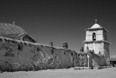 Small church in andean mountains of chile, b & w Royalty Free Stock Images
