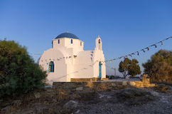 Small church in Antiparos island, Cyclades, just before dusk Stock Photo