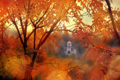 Small church in autumn forest Royalty Free Stock Photos