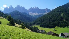 A small church in the background of the Dolomites royalty free stock photos