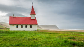 Small church on the beach, Iceland. Small church on the beach in Iceland Royalty Free Stock Photo